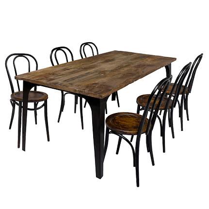 Bretagne Bistro matgrupp med 6 stolar svart | Ekeby Möbler